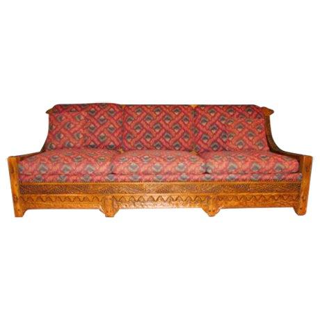 Romweber Viking Oak Carved Wood Low-Arm Sofa - Image 1 of 11