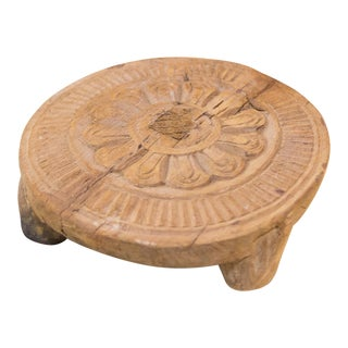 Keya Nepalese Carved Lotus Chakla Stand For Sale