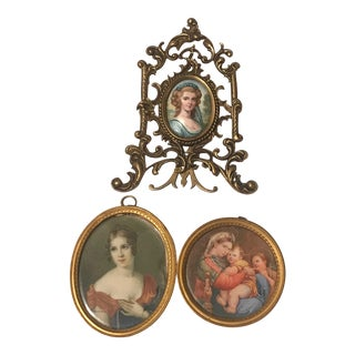 Mid 20th C. Diminutive Portrait Paintings - Lot of 3 For Sale