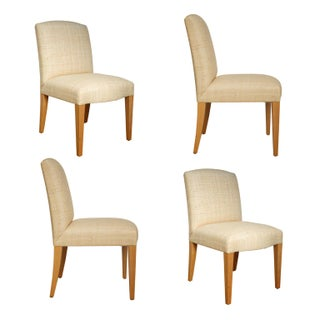 Donghia Woven Grasscloth, Custom Plaza Chairs - Set of 4