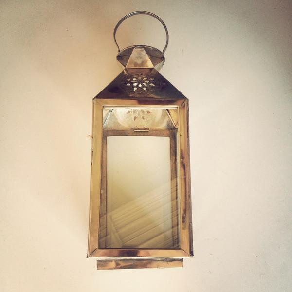 Star Moroccan Square Brass Lantern - Image 2 of 3