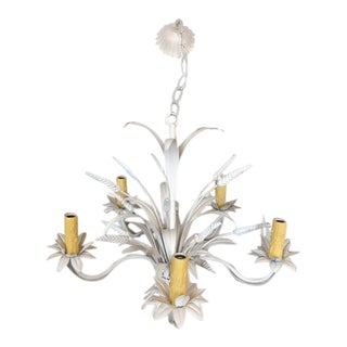 Vintage French White Painted Brass Chandelier For Sale