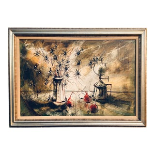 Mid-Century Abstract Impressionist Still Life Oil on Canvas Painting For Sale