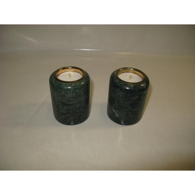 1980s 1980s Green Marble Candle Holders - a Pair For Sale - Image 5 of 10