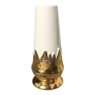 Mid-Century Modern Ceramic Gold and White Vase For Sale