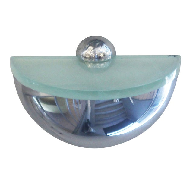 Pair of Rounded Chrome Sconces in the Style of Fontana Arte - Image 4 of 6