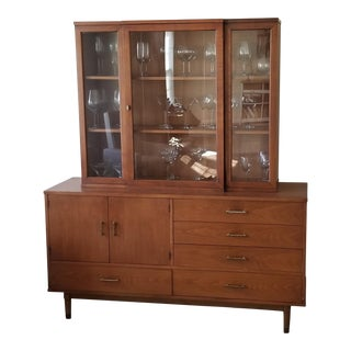 Mid-Century Modern Drexel Credenza and Hutch For Sale