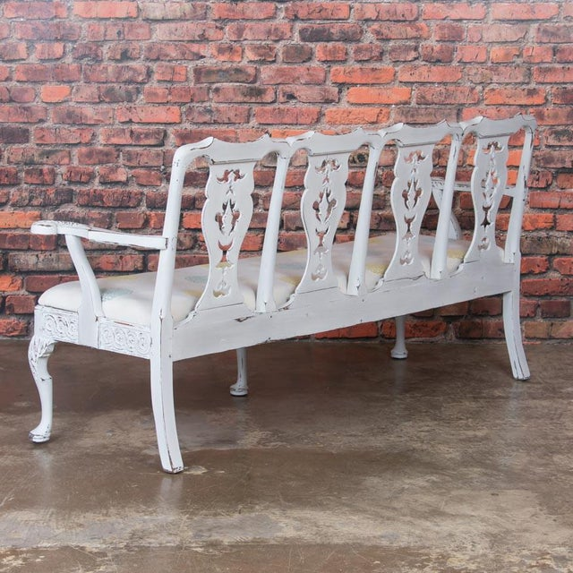 Gustavian (Swedish) Early 19th Century Antique Light Gray Painted Swedish Gustavian Bench For Sale - Image 3 of 10