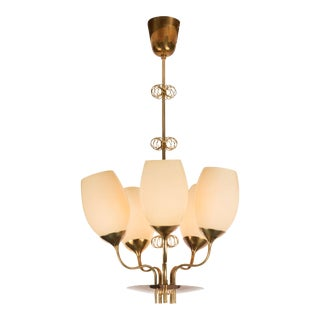 1950s paavo tynell 5-glass chandelier for taito oy