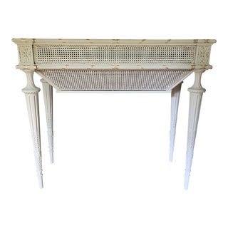 Antique Pale Grey Gustavian Style Planter With Caning and Gilt Detail For Sale
