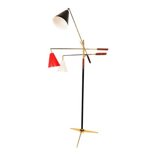Early Gino Sarfatti Triennale Floor Lamp in Brass & Brown Leather For Sale