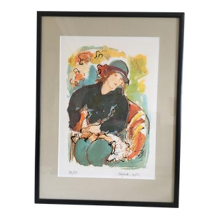 Moving Sale - Seated Model Limited Edition Screen Print by Dutch Artist Nic Jonk - 1981