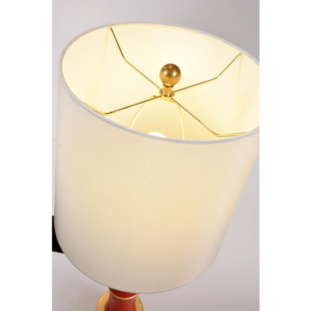 Metal Orange Porcelain Table Lamp With Gold Wood Base - a Pair For Sale - Image 7 of 9
