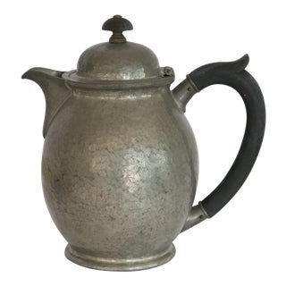 1940s RusticHammered Pewter Teapot with Wood Handle