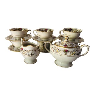 "Vintage Lamberton Ivory China "" Dorothea"" Pattern 15 Pieces Tea Set For Sale"