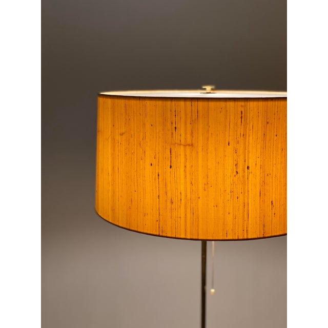 1960s Bergboms Model G-025 Brass Floor Lamp With Silk Shade For Sale - Image 5 of 12