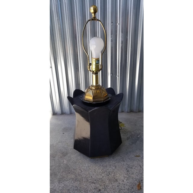 70's Brass and Black Ceramic Decorator Accent Lamp For Sale - Image 12 of 13