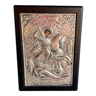 St George & the Dragon Sterling Silver Repousse Large Hand Painted Icon For Sale