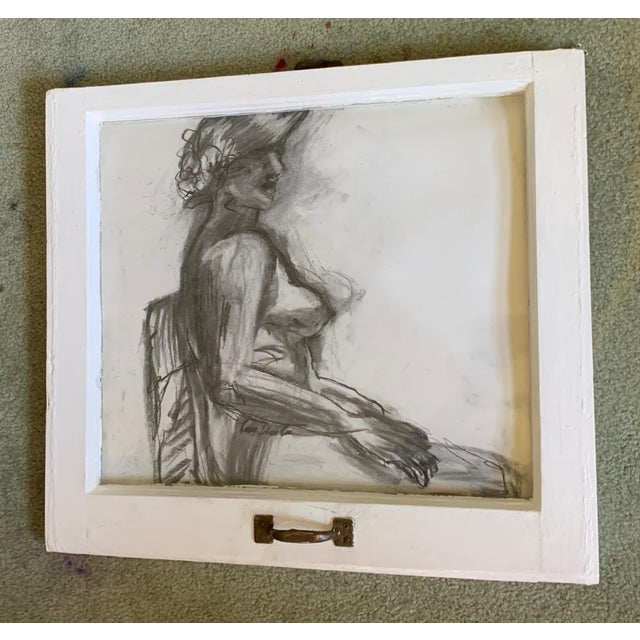 """Lady in the Window Original 22""""x20"""" Charcoal Drawing Vintage Framed Window Pane Nancy T. Van Ness Artist… Raw paint on the..."""