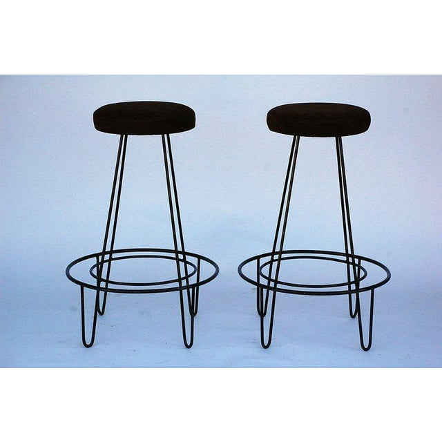 1950s 1950s Minimalistic Bar Stools With Brown Suede Seats - a Pair For Sale - Image 5 of 5