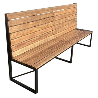 New Park or Garden Bench in Iron Structure With Wood Slabs, Indoor and Outdoor For Sale