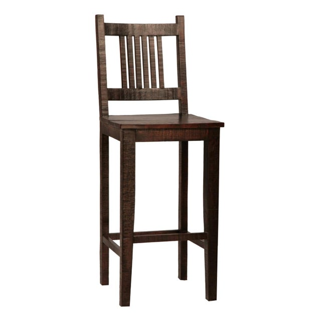Rustic hardwood bar chair with aged patina. The wood finish has been treated with a clear sealant. Beautiful modern rustic...