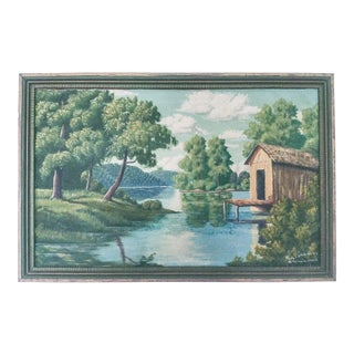 1950s Vintage Scenic Oil on Canvas Painting For Sale