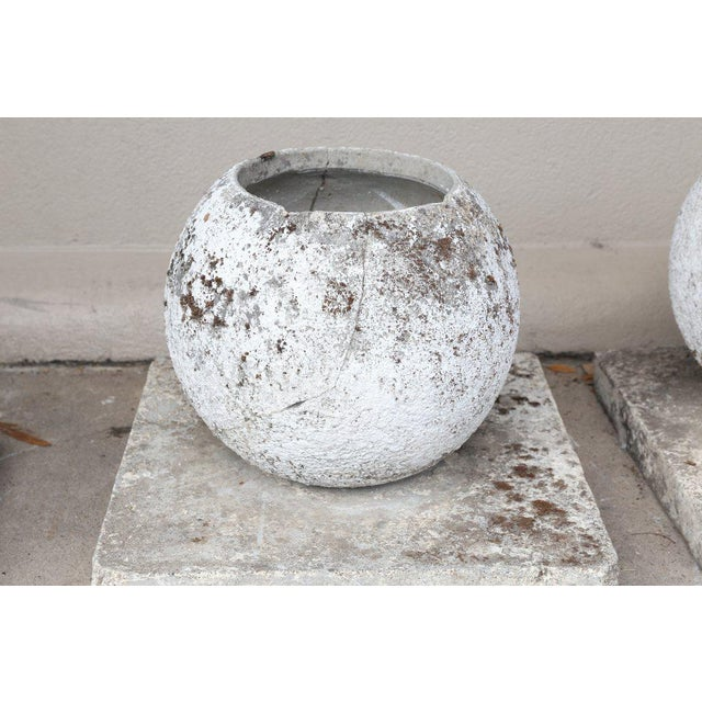 White Mid-Century French Cast Stone Sphere Planter Trio For Sale - Image 8 of 11