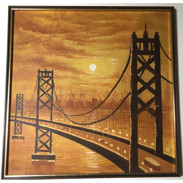 This is one vivid sunset! What we love about this painting is the geometry of the bridge, the misty silhouettes of the...