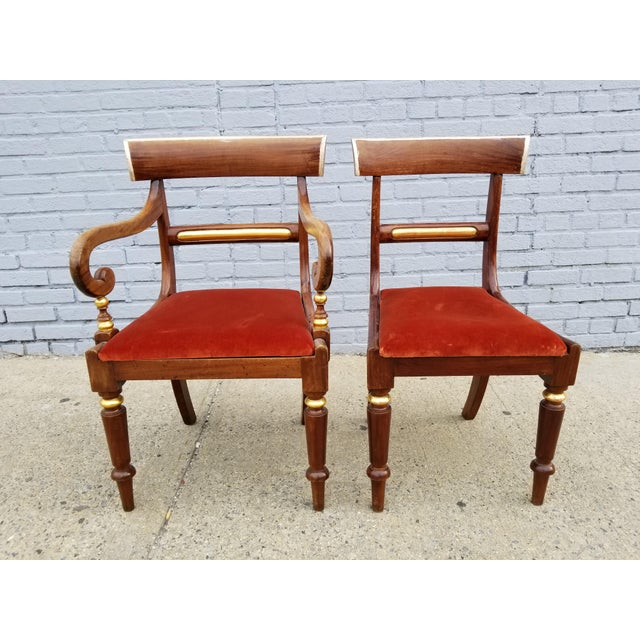 Antique Neoclassical Mahogany Gilt Side Chairs - a Pair For Sale - Image 11 of 11