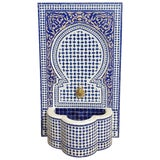 Image of Moroccan Mosaic Blue Fountain For Sale