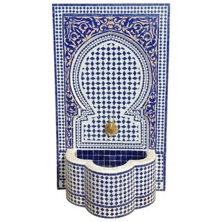 Moroccan Mosaic Blue Fountain For Sale