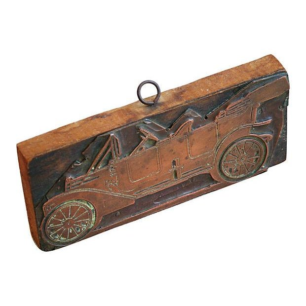 Antique French Automobile Printer's Copper Plate - Image 3 of 4