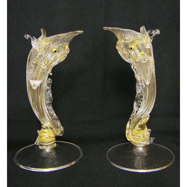 Pair Venetian Murano Glass Dolphin Vessels Italy Italian Mid Century Modern - Image 4 of 11