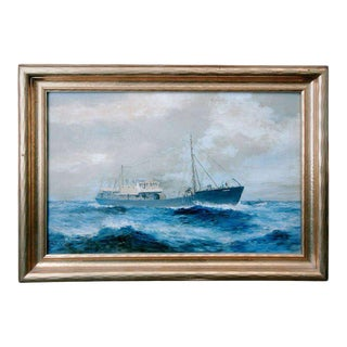 19th Century American Seascape of Commercial Ship For Sale
