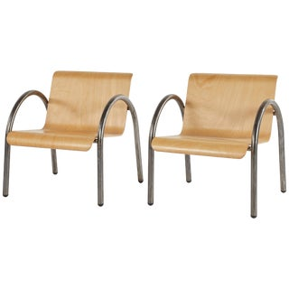 1950s Metal and Wood Arm Chairs - a Pair For Sale