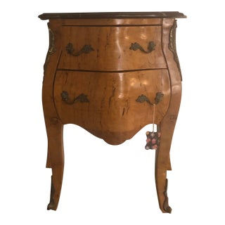 1980s Vintage Bombay Style Nightstand With Marble Top For Sale