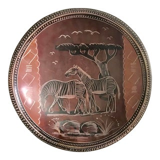 Vintage African Etched Zebra Bowl For Sale