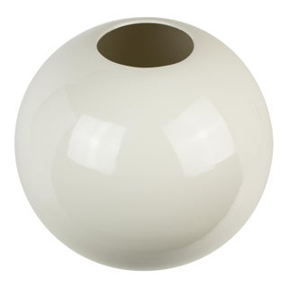 Large White Ceramic Globe Vase For Sale