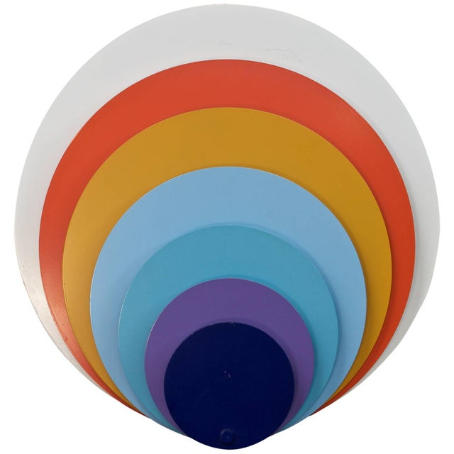1960s 1960s Lyfa Psychedelic Pop Art Offset Concentric Circles Peacock Wall Sconce For Sale - Image 5 of 5