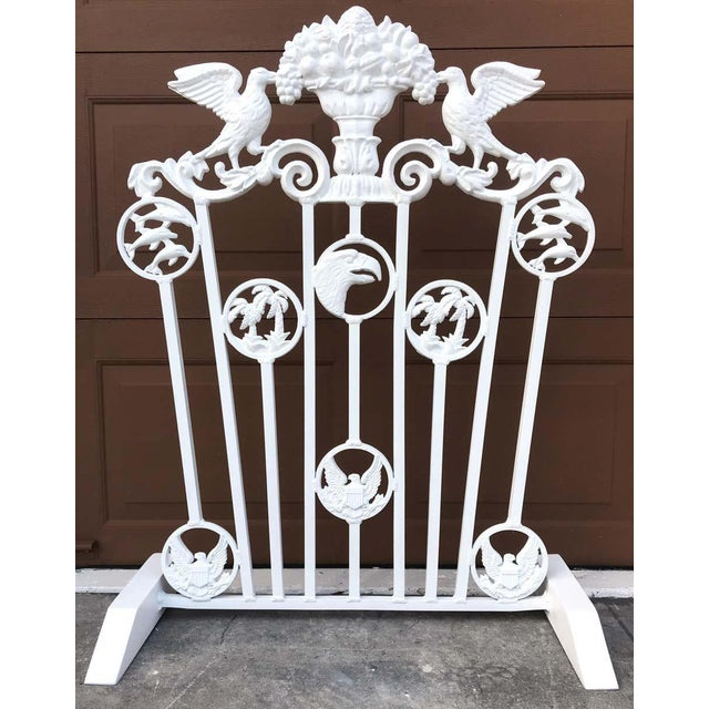 Presidential wrought iron firescreen, Truman Little White House, Key West, FL A rare find, with medallions of Dolphins,...
