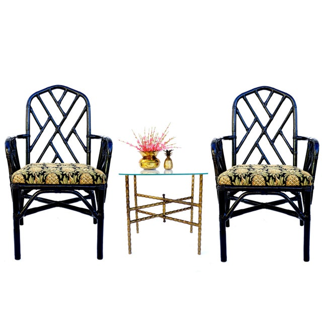 Beautiful and timeless, these vintage Chinese Chippendale arm or Captains chairs are quality crafted from strong and...