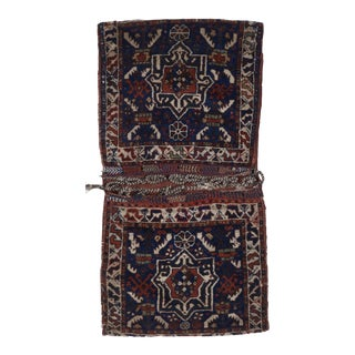 1930s Vintage Hand-Knotted Multicolor Wool Saddlebag / Rug - 2′1″ × 4′ For Sale