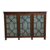 Image of 20th Century Traditional Mahogany Claw Foot Breakfront Bookcase With Glass Doors For Sale