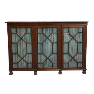 20th Century Traditional Mahogany Claw Foot Breakfront Bookcase With Glass Doors For Sale