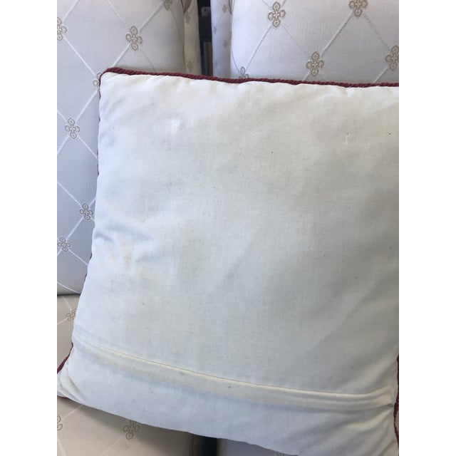 Americana Early 20th Century Antique Tulip Needlepoint Pillow For Sale - Image 3 of 4