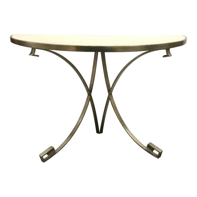 Vangaurd Modern Metal and Stone Demi-Lune/Console Table For Sale