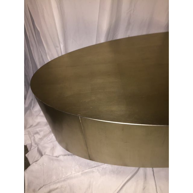 Hollywood Regency Gold Leaf Oval Coffee Table - Image 2 of 11