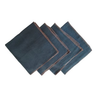 Blue Green Linen Napkins With Tan Overlock Edges - Set of 4 For Sale