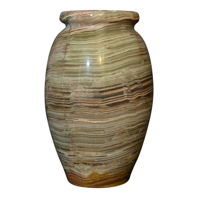 1960s Vintage Polished Onyx Stone Bud Vase For Sale
